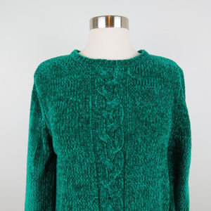 Vintage Sweaters - Vintage Emerald Green Chenille Sweater (A6)
